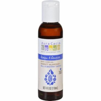 Aura Cacia Skin Care Oil - Renew And Recover - Sweet Almond Plus Blueberry Seed - 4 Oz