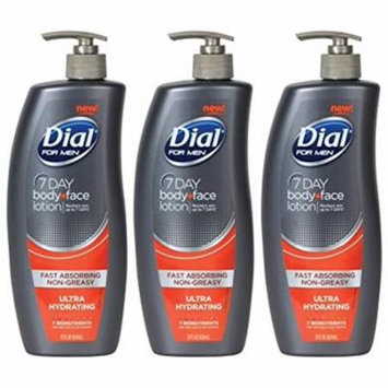 Dial Replenishing 7 Day Body & Face Lotion For Men - 21 Oz (Pack Of 3)