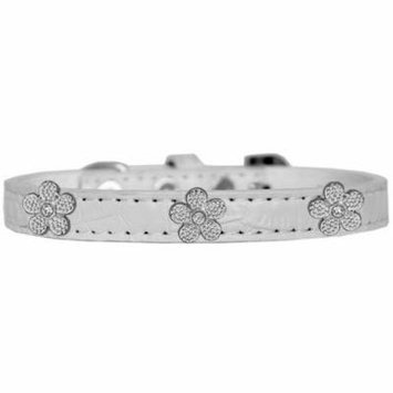 Silver Flower Widget Croc Dog Collar White Size 20