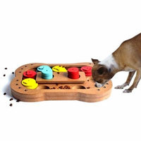 Bone,Dog Paw Shape Interactive Wooden Dog Toys Food Feeder,Claw Bone Design Educational Dog Puzzle Toys IQ Training Game Plate