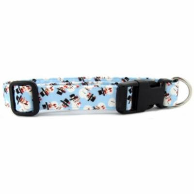 Light Blue Tossed Snowmen Dog Collar - Size - Large