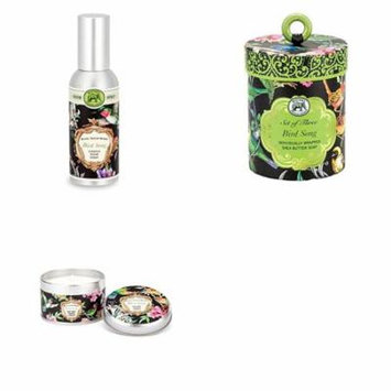 Michel Design Works Triple Milled 3-Piece Shea Butter Soap Gift Set, Fragrance Spray and Travel Candle - Bird Song