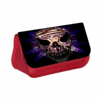 Smiling Skull - Red Cosmetic Case - Makeup Bag - with 2 Zippered Pockets