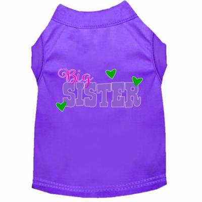 Big Sister Screen Print Dog Shirt Purple Med