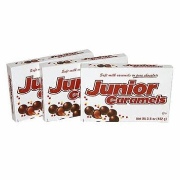 Junior Caramels Chocolate Candy 3.5oz Theater Size Box (3 Pack)