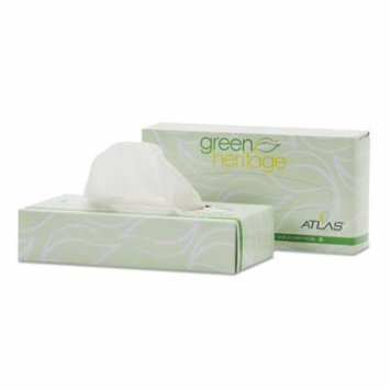 Green Heritage Facial Tissue, 2-Ply, White, 7 2/5 X 8 1/5, 100/box, 30 Boxes/ct