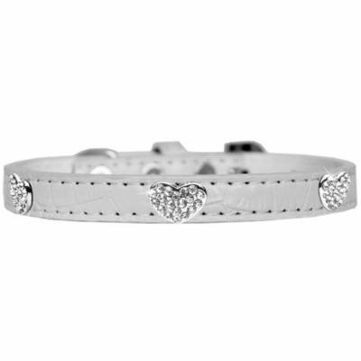 Croc Crystal Heart Dog Collar White Size 14