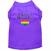 I have 2 Mommies Screen Print Dog Shirt Purple Lg