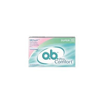 2 Pack o.b. Pro Comfort Super Tampons, SilkTouch, No Applicator Waste, 40 Each