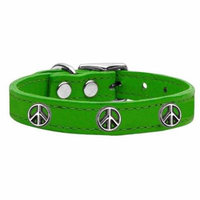 Peace Sign Widget Genuine Leather Dog Collar Emerald Green 12