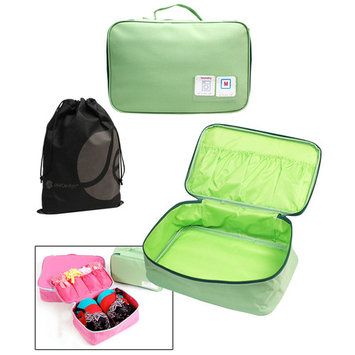 Travel Underwear Bra and Garment Organizer Pouch with Handle and Bonus Reusable Toiletry Bag