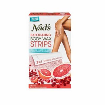 Nad's Exfoliating Body Wax Strips, 20 Count + 4 Post Wax Calming Oil Wipes + Yes to Tomatoes Moisturizing Single Use Mask