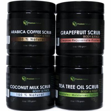 Body Scrubs Gift Pack Set of 4 Grapefruit, Coffee, Tea Tree & Coconut Milk Sea Salt Scrubs for Her Best Beauty Limited Edition 2.0 Premium Nature 6 Oz Each