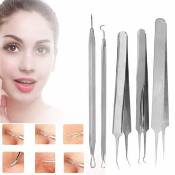 5PCS Blackhead Blemish Acne Comedone Extractor Removal Needle, Portable Stainless Steel Blain Blackhead Acne Removal Needle Tool
