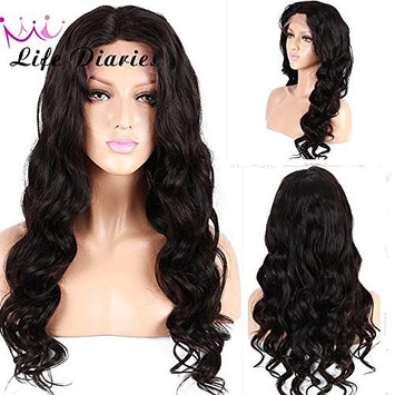 No Tangle 10A Lace Front Wig 150% Density Pre Plucked Natural Body Wave Natural Color Brazilian Virgin Human Hair Wigs for All Skin Women 16 Inch []