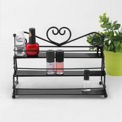 Nail Polish Rack with Metal Heart Design, 3 Tiers Nail Polish Storage Display Makeup Organizer Shelf Case