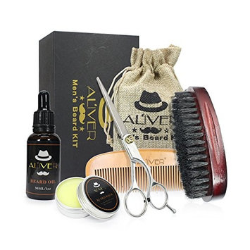 Beard Grooming & Trimming Kit for Men Care,ALIVER Beard Oil,Mustache & Beard Balm Butter Wax,Professional Mustache Scissors, Beard Comb, Beard Brush, Styling Beard Shaping tool Maintenance Gift Set