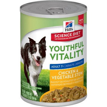Hills Hill's Science Diet Youthful Vitality Adult Chicken & Vegetable Stew Canned Dog Food, 12.5 oz, Case of 12