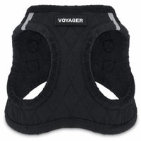 Voyager by Best Pet Supplies - Step-in Plush Dog Harness with Padded Vest, (Black Plush, X-Large)