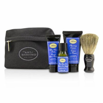 Starter Kit - Lavender: Pre Shave Oil + Shaving Cream + After Shave Balm + Brush + Bag-4pcs + 1 Bag