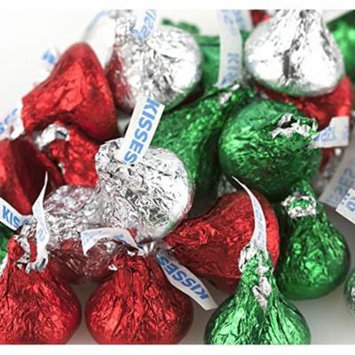 Hershey Chocolate Kisses - Red, Green & Silver Christmas Colors - 5 Lb Bulk