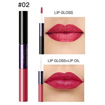 Binmer(TM) Women 2 in 1 Velvet Matte Lipstick Lip Gloss Double-End Makeup