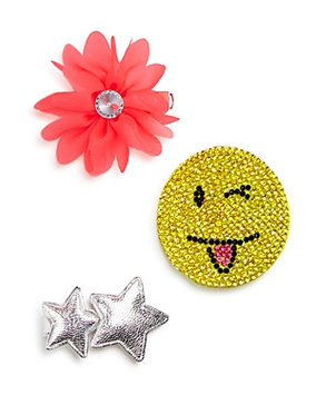 Capelli Of New York Emoji & Star 3-Pack Hair Clips, Size One Size - Pink