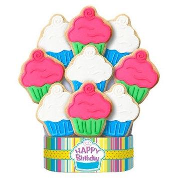 Cupcake Happy Birthday Cookie Bouquet 9 Cookie Arrangement