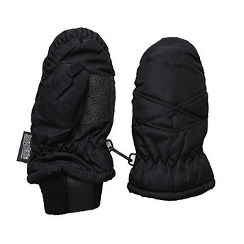 SANREMO Unisex Kids Toddler Thinsulate and Waterproof Cold Weather Ski Mittens (2-4 Years, Black)