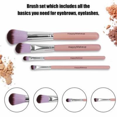 HAPPY-MAKEUP 4pcs/set Women Wooden Handle Foundation Eyeshadow Eyeliner Brush Holiday Gifts, pink,