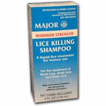 Major Max Strength Lice Killing Shampoo w/Comb 4oz Each