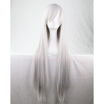 Kissparts Wigs 32 Inch Straight Silver White Cosplay Wig For Women With Wig Cap and Comb ¡