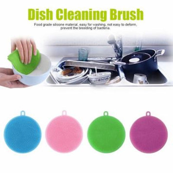 Mosunx 4Pcs Silicone Dish Washing Sponge Scrubber Kitchen Cleaning antibacterial Tool