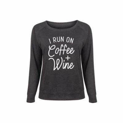 I Run On Coffee And Wine - Ladies Plus Slouchy