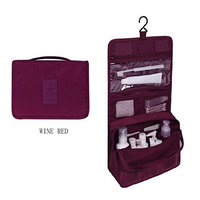 Waterproof Toiletry Bag with Hanger Washing Bag Cosmetic Storage Bag for Business or Leisure Travel Bathroom Storage Bag with Mesh Pockets Personal Organizer for Men & Women (Wine Red)