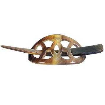 Mary Crafts Buffalo Horn Hair Barrette Hair Clip Stick Pin Handmade Small Size Multicolor 1.7x2.8