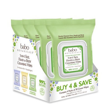 Babo 3-in-1 Hydrating Face, Hand, Body Wipes - Cucumber & Aloe Vera (4 Pack)