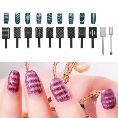 EECOO UV Gel Magnet,11Pcs/Set 3D Cat Eye Magnetic LED Polish Soak Off UV Gel Magnet Stick Manicure Nail Art Tools Magnet