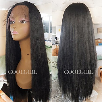 Coolgirl Light Yaki Hair Synthetic Lace Front Wigs Black Yaki Straight Hair Wigs for Women