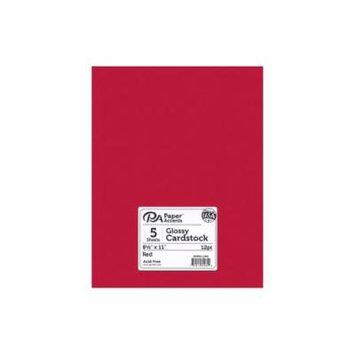 Cdstk Glossy 8.5x11 12pt Red 5pc