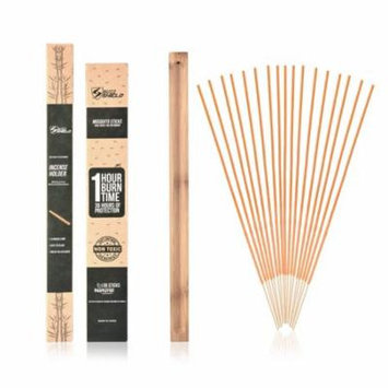 Mosquito Repellent Sticks Incense (36 Pack with Ash Tray) Citronella Lemongrass Rosemary