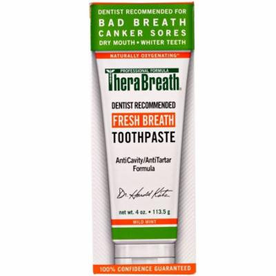 TheraBreath Fresh Breath Toothpaste Mint 4.0 oz.(pack of 12)
