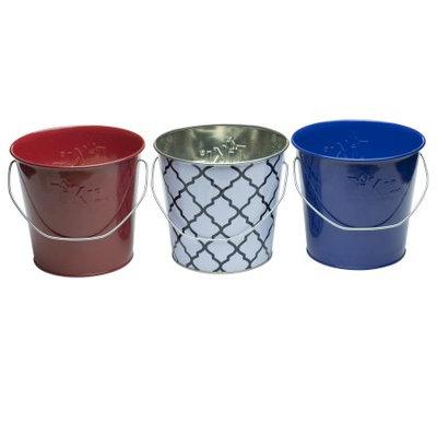 17 Oz. Americana Citronella Wax Citronella Candle Metal 3pc - Multi Color - Tiki, Multi-Colored