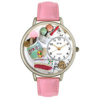 Whimsical Women's Dessert Lover Theme Pink Leather Strap Watch