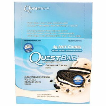 Quest Nutrition, QuestBar, Protein Bar, Cookies & Cream, 12 Bars, 2.1 (60 g) Each(pack of 1)