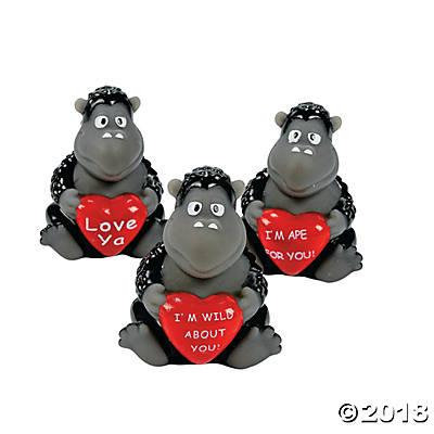 Valentine Gorillas with Hearts (Pack of 3)