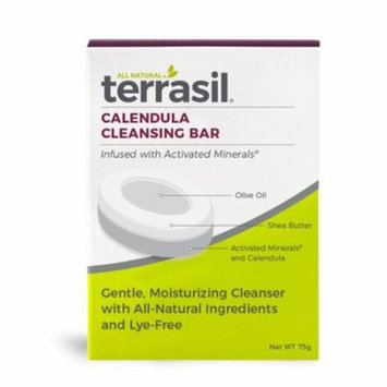 Terrasil® Calendula Cleansing Bar Soap with All-Natural Activated Minerals® for Moisturizing, Healing and Gentle Cleaning of Skin (75gm bar)