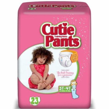 6 Pack - First Quality Cuties Refastenable Training Pants for Girls 3T-4T, up to 32-40 lbs - 23 ea