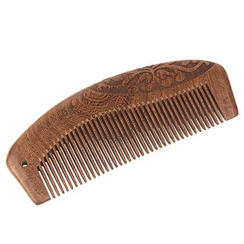 Ebony Wood Comb with Exquisite Gift Box - Handcrafted Comb with Carved Pattern for Beard, Head Hair, Mustache(No Snags, No Tangle and No Static)