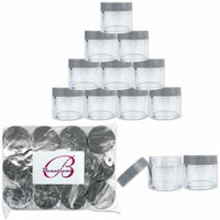 Beauticom 12 Pieces High Quality 30 Gram 30 ml (1 oz) Clear Round Acrylic Cosmetic Product Sample Travel Jars (Gray Lids)